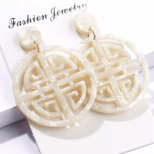 Jewelry - NEW Ivory Tortoise Shell Acrylic Earrings